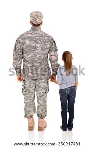 rear view of military man and daughter on white background - stock photo