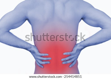Rear view of muscular man with backache over white background - stock photo