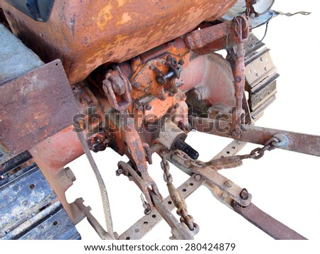 Rear view of old italian crawler tractor on white background - stock photo