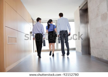 Rear view of professional businesspeople walking along the office corridor - stock photo