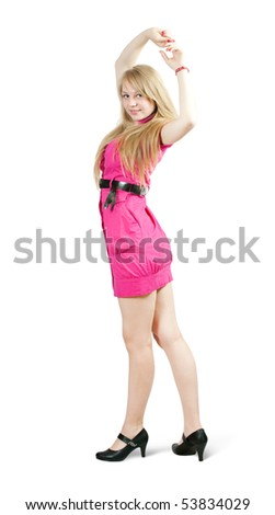 Rear view of sexy girl in pink dress. Isolated with clipping path - stock photo