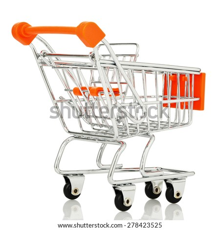 rear view of shopping cart  isolated on white background - stock photo
