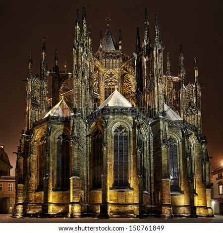 rear view of St. Vitus Cathedral at winter night, in Prague - stock photo