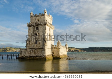 rear view of the belem tower at sunset, symbol of lisbon
