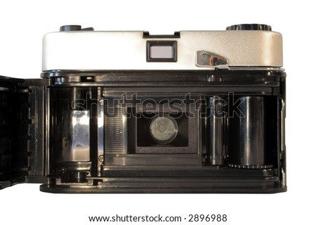 Rear view of vintage film camera