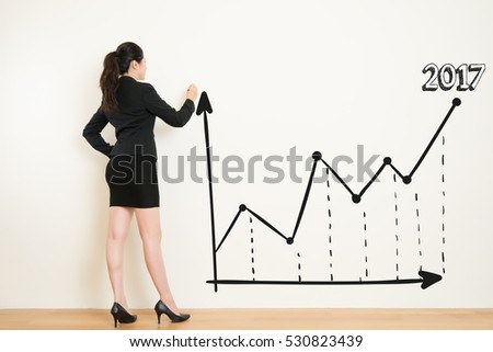 Rear view of woman drawing a graph on white wall background. Concept of scientific approach to business. beautiful mixed race asian chinese with business concept