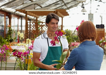 rear view of woman shopping in flower shop