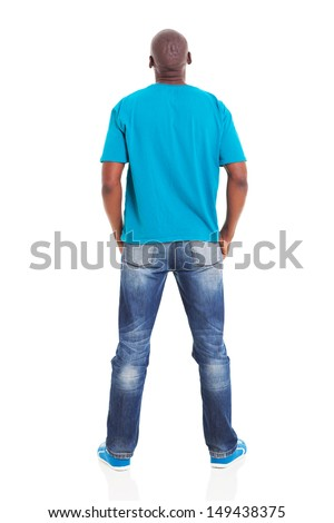 rear view of young african man isolated on white background - stock photo