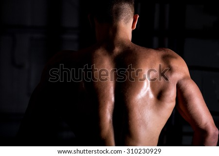Rear view of young attractive caucasian muscular bodybuilder man with perfect body working out in sports center, posing, showing back muscles, body sculpture concept