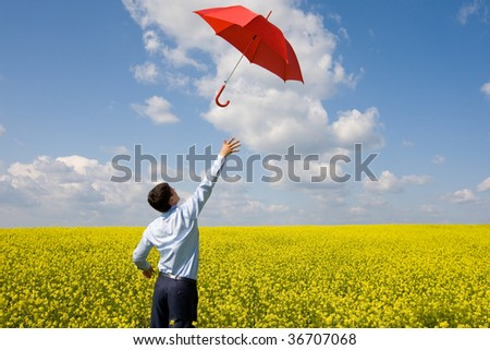 Rear view of young businessman catching red umbrella in flower field - stock photo