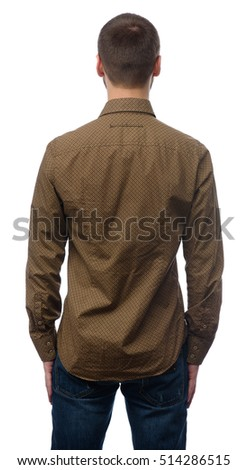 rear view of young man looking away. Isolated on white background