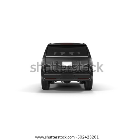 Rear view strong 4x4 suv isolated. 3D illustration