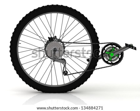 Rear wheel of a sports bike with pedals, chain and transmission - stock photo