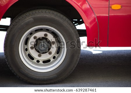 rear wheel of the car close up side view