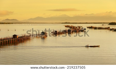 Rearing fish in cages in chanthaburi,Thailand - stock photo