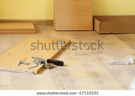 rearrange self-assembly furniture wooden - nobody - stock photo