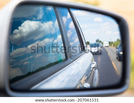 Rearview mirror at the car