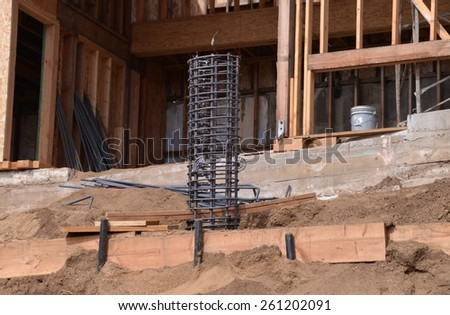 Rebar Cage at a hillside home under construction.  (horizontal)