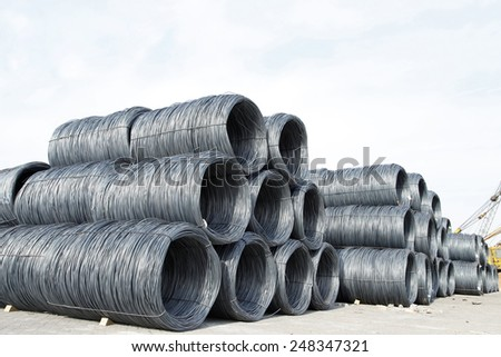 Rebar is also known as hot rolled ribbed steel bar - stock photo