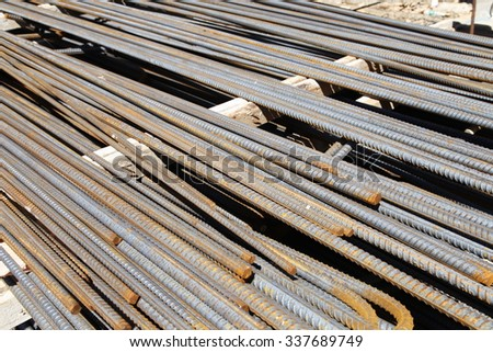 Rebar organised at the construction site
