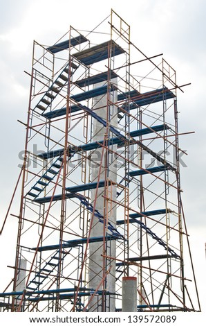 Rebar with scaffolding in construction site, Thailand.