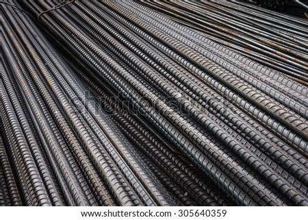Rebars for reinforcement concrete structure in the construction site.