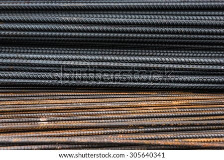 Rebars for reinforcement concrete structure in the construction site. and rusty surface on steel - stock photo