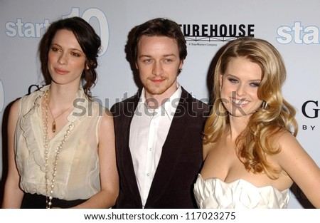 "Rebecca Hall with James McAvoy and Alice Eve at the Los Angeles premiere of ""Starter for Ten"". Arclight Theaters, Hollywood, CA. 02-06-07"