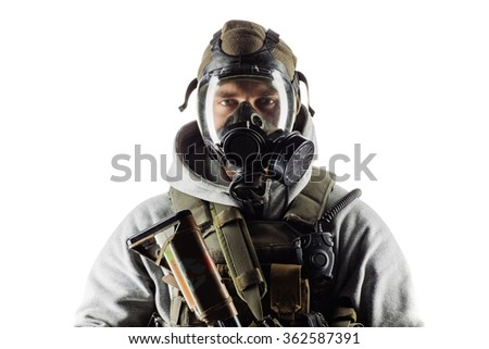 rebel man with gas mask and rifles against a white background - stock photo