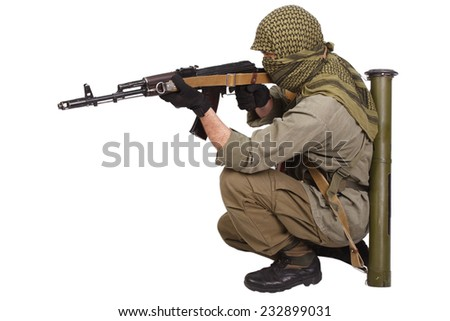 rebel with AK 47 isolated on white background