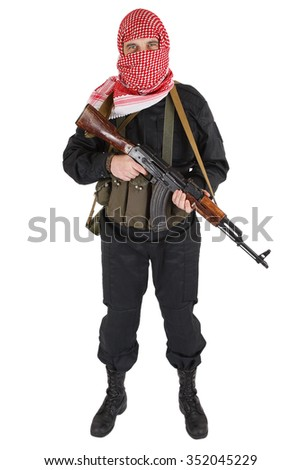 Rebel with assault rifle isolated on white - stock photo