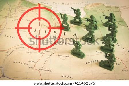 Rebels on Libya territory - stock photo