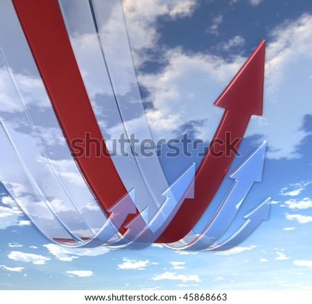 Rebounding arrows Red (on background of blue skies) - stock photo