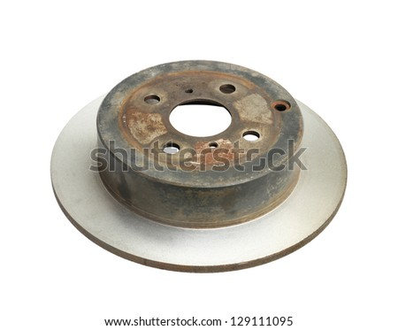 Rebuild brake disc isolated on white background - stock photo