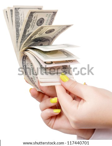 recalculation of money on an isolated white background - stock photo