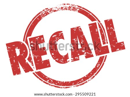 Recall word in red grunge style stamp to illustrate a defect in a product being called back for fix or repair to reduce risk of danger or injury - stock photo