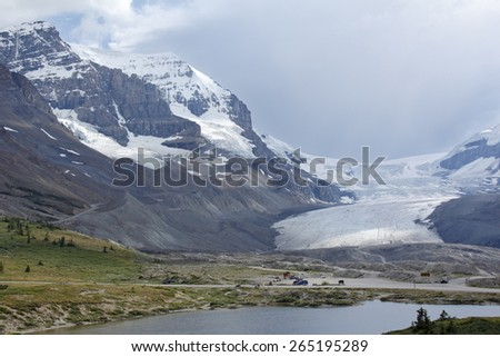 Receding Glacier in Jasper National Park - Alberta, Canada - stock photo