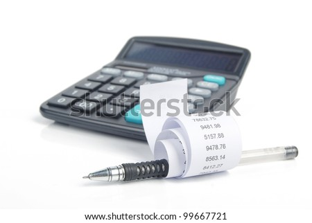 Receipt and calculator - stock photo
