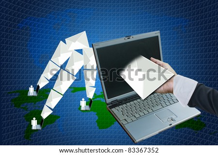 receive  letters from laptop. - stock photo