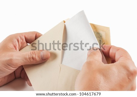 Receive mail isolated on white background - stock photo
