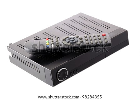 Receiver for satellite and DVB-T television - stock photo
