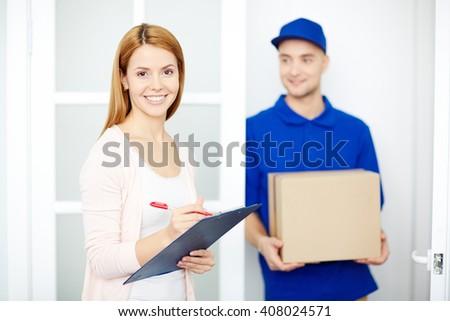 Receiving order - stock photo