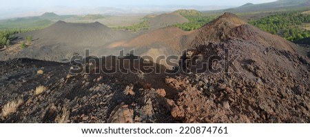 recent volcanic crater (eruption 1974) of De Fiore Mount and other volcanic cone in Etna National Park, Sicily - stock photo