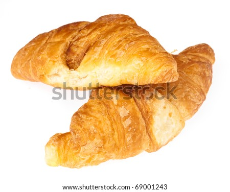 recently made croissant isolated on white background