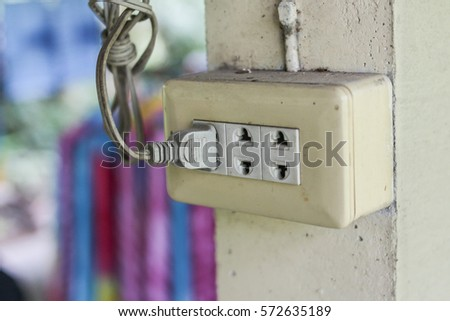 Receptacle or outlet and plug for electric equipment
