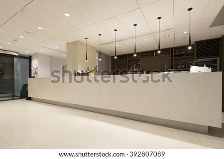 Reception desk in hotel - stock photo