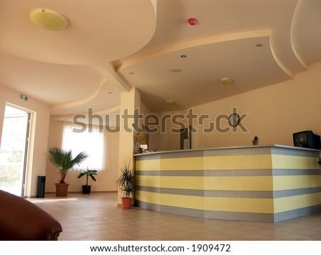Reception desk in small hotel - stock photo