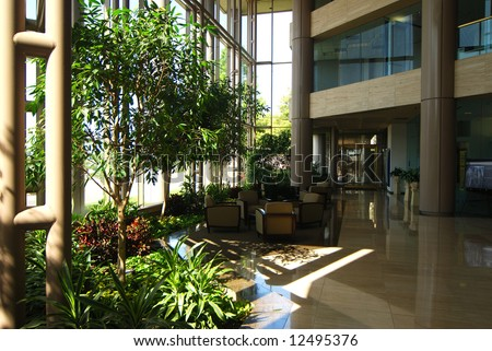 Reception foyer of a modern office building.