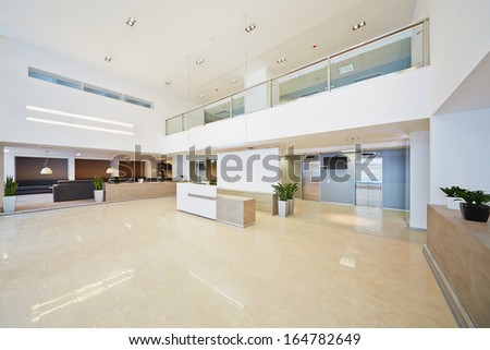 Reception hall in business center - stock photo