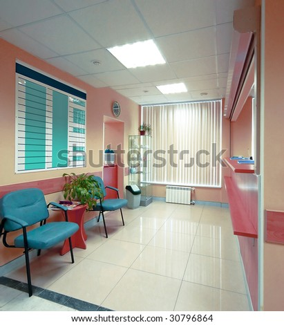 reception in hospital - stock photo